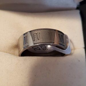 Sz 11 Handmade Roman Numeral Ring Stainless Steel
